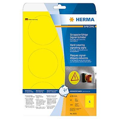 HERMA Folienetikett 8035 85mm rund gelb 150 St./Pack.