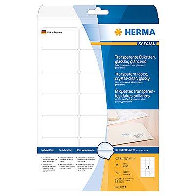 HERMA Folienetikett 8017 63,5x38,1mm tr 525 St./Pack.