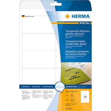 HERMA Folienetikett 8018 96x50,8mm tr 250 St./Pack.