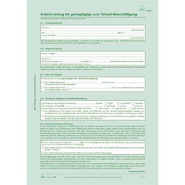 RNK Arbeitsvertrag 518 geringfügig Beschäftigte DIN A4 2x2Blatt