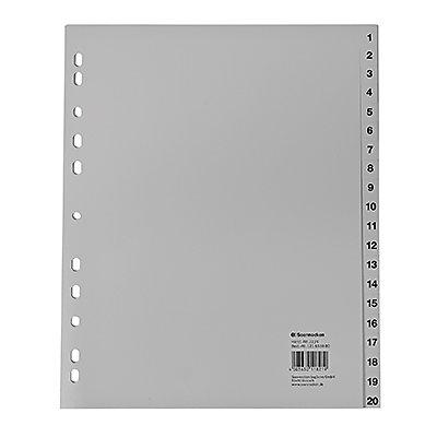 Soennecken Register 2134 DIN A4 1-20 volle Höhe Überbreite PP grau