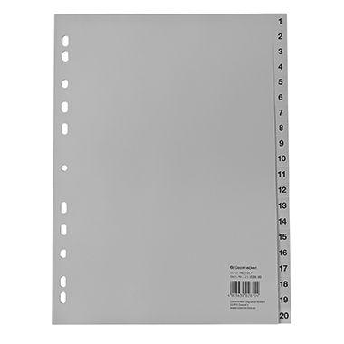 Soennecken Register 1617 DIN A4 1-20 volle Höhe PP grau