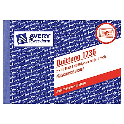 Avery Zweckform Quittung 1735 DIN A6 quer 2x40Blatt