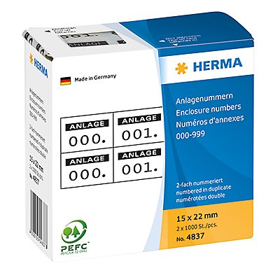 HERMA Nummern Etikett  15x22mm  1.000 St./Pack.