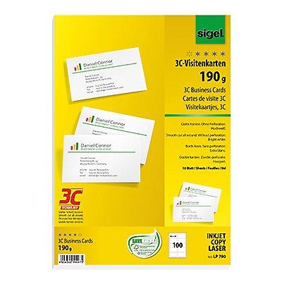 Sigel Visitenkarte LP790 DIN A4 85x55mm 190g ws 100 St./Pack