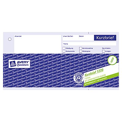Avery Zweckform Kurzbrief 1020 1/3 DIN A4 100Blatt