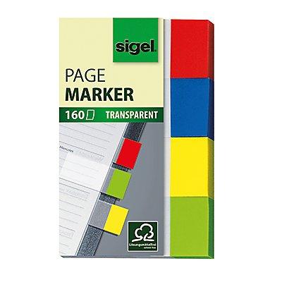 Sigel Haftmarker Transparent HN670 20x50mm farbig sortiert 4 St./Pack.