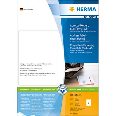 HERMA Adressetikett PREMIUM 8689 105x148mm weiß 800 St./Pack.