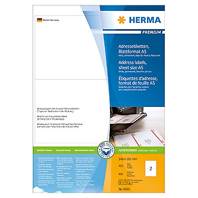 HERMA Adressetikett PREMIUM 8691 105x148mm weiß 800 St./Pack.
