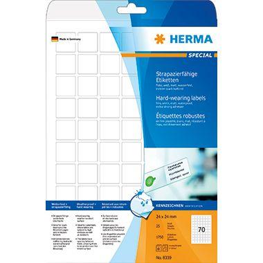 HERMA Etikett 8339 24x24mm PES weiß 1.750 St./Pack.