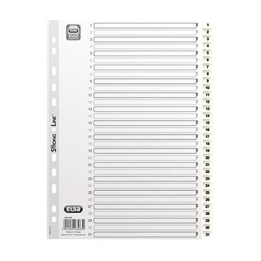 ELBA Register 400013948 DIN A4 1-31 volle Höhe Kunststoff weiß