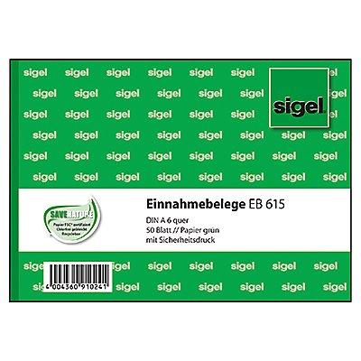 Sigel Einnahmebeleg EB615 DIN A6 quer 50Blatt