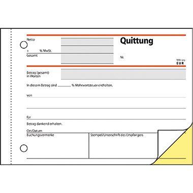 Sigel Quittung SD022 DIN A6 quer selbstdurchschreibend 2x40Blatt