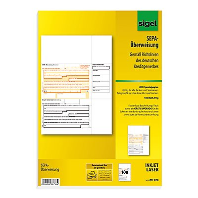 Sigel Überweisung  DIN A4 für InkJet/Laser-Drucker  Bl./Pack.