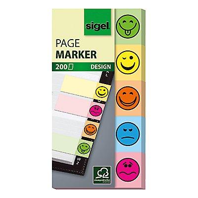 Sigel Haftmarker Design Smile HN502 50x100mm sortiert 5 St./Pack.