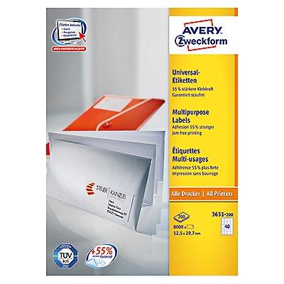 Avery Zweckform Etikett 3651-200 52,5x29,7mm weiß 8.000 St./Pack.