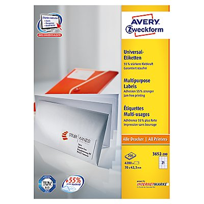 Avery Zweckform Etikett 3652-200 70x42,3mm weiß 4.200 St./Pack.