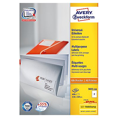 Avery Zweckform Etikett 3655-200 210x148mm weiß 400 St./Pack.