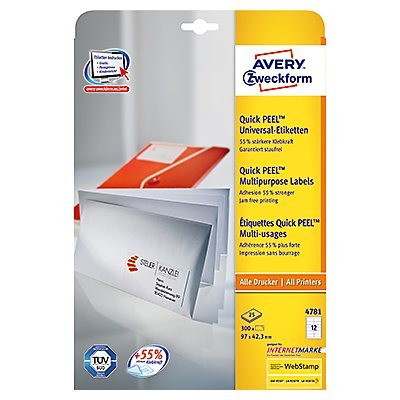 Avery Zweckform Universaletikett 4781 97x42,3mm weiß 300 St./Pack.