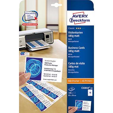 Avery Zweckform Visitenkarte C32010-25 weiß 250 St./Pack.