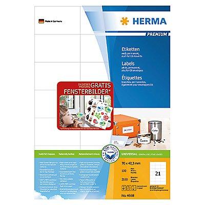 HERMA Etikett PREMIUM 4668 70x42,3mm weiß 2.100 St./Pack.