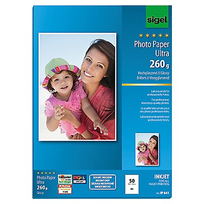 Sigel Fotopapier Ultra  DIN A4 190g superweiß 50 Bl./Pack.