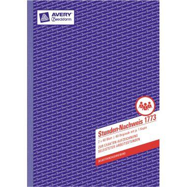 Avery Zweckform Stundennachweis 1773 DIN A4 2x40Blatt