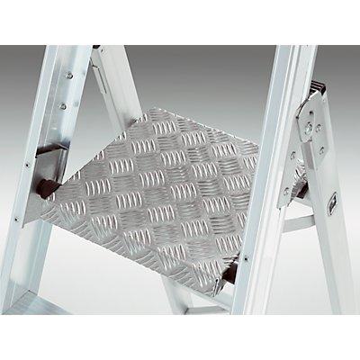 EUROKRAFT Sicherheits-Stehleiter, einseitig begehbar - mit Plattform 300 x 300 mm, Ablageschale
