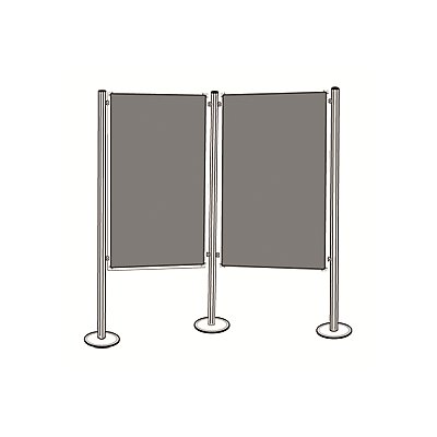 magnetoplan® Präsentationstafel-Set - 2 Pinntafeln, 3 Säulen - Gesamtbreite 2625 mm