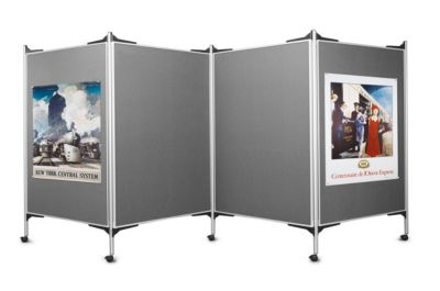 magnetoplan® Präsentationssystem, mobil - 3 Pinntafeln, 4 Säulen - Breite 3 x 1200 mm