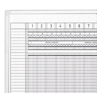 magnetoplan® Tableau quadrillé ferroscript® - semaine de 7 jours - l x h 1200 x 900 mm, 75 caractères
