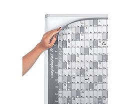magnetoplan® Tableau sur montants à planning annuel - avec film de planning annuel et kit d'accessoires