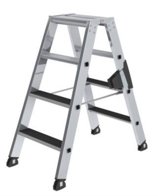 Stufen-Stehleiter - beidseitig begehbar, geriffelt