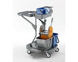 QUIPO Kunststoff-Reinigungswagen - Set mit 2 x 6 l, 2 x 15-l-Eimer, Höhe 1085 mm