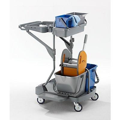 QUIPO Kunststoff-Reinigungswagen - Set mit 2 x 6 l, 2 x 15-l-Eimer, Höhe 1085 mm - LxBxH 900 x 760 x 1085 mm