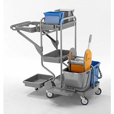 QUIPO Kunststoff-Reinigungswagen - Set mit 2 x 6 l, 2 x 15-l-Eimer, Höhe 1150 mm - LxBxH 1190 x 675 x 1150 mm