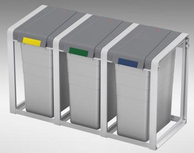 Wertstoffsammlersystem, flexibel - 3er-Station - Volumen 3 x 35 l