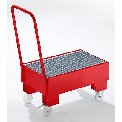 Auffangwanne aus Stahlblech, fahrbar - für 60-l-Fässer, 2 x stehend