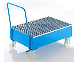 Auffangwanne aus Stahlblech, fahrbar - für 200-l-Fässer, 2 x stehend, blau RAL 5012