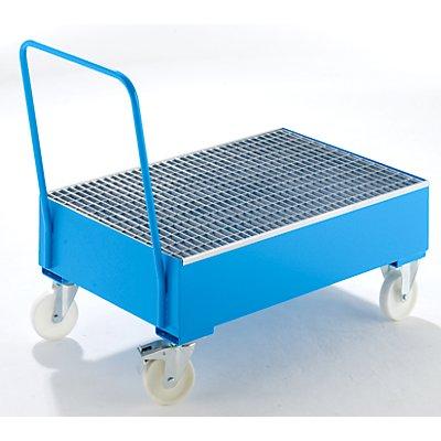 BAUER Auffangwanne aus Stahlblech, fahrbar - für 200-l-Fässer, 2 x stehend