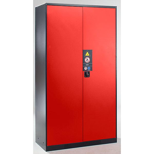 Image of Asecos Chemikalienschrank - Tür geschlossen - Türfarbe verkehrsrot RAL 3020