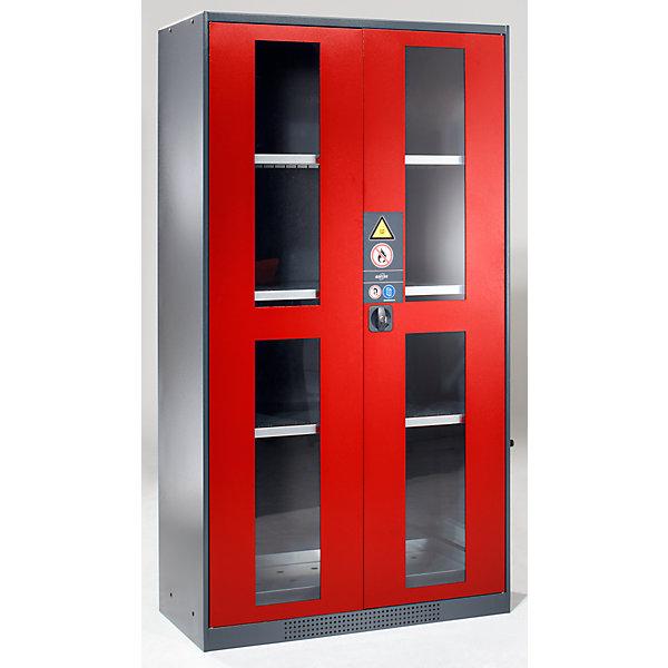 Image of Asecos Chemikalienschrank - Tür mit Sichtfenstern - Türfarbe verkehrsrot RAL 3020