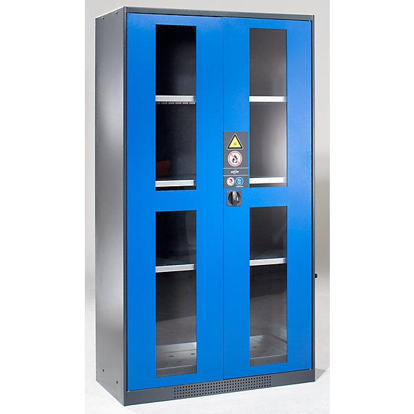 Image of Asecos Chemikalienschrank - Tür mit Sichtfenstern - Türfarbe enzianblau RAL 5010