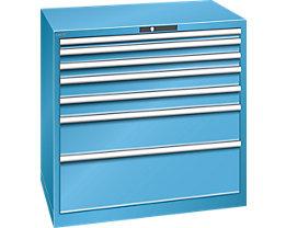 Lista Schubladenschrank, Stahlblech - HxB 1000 x 1023 mm, 7 Schubladen - Tragkraft 75 kg, lichtblau