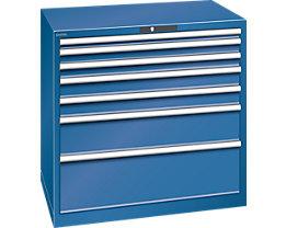 Lista Schubladenschrank, Stahlblech - HxB 1000 x 1023 mm, 7 Schubladen - Tragkraft 75 kg, enzianblau