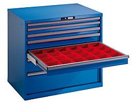 Lista Schubladenschrank, Stahlblech - HxB 1000 x 1023 mm, 7 Schubladen - Tragkraft 200 kg, lichtblau