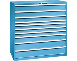 Lista Schubladenschrank, Stahlblech - HxB 1450 x 1431 mm, 10 Schubladen - Tragkraft 200 kg, lichtblau