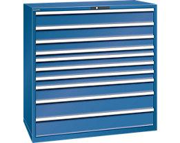 Lista Schubladenschrank, Stahlblech - HxB 1450 x 1431 mm, 10 Schubladen - Tragkraft 200 kg, enzianblau