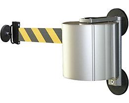 Gurtbandkassette aus Aluminium - magnetisch inkl. Gurtendstück - Gurtfarbe schwarz / gelb