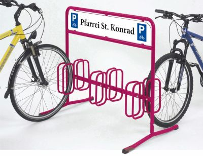 Fahrradständer DW 3000 von WSM - mit Dauerwerbefläche 1000 x 180 mm - farbig beschichtet